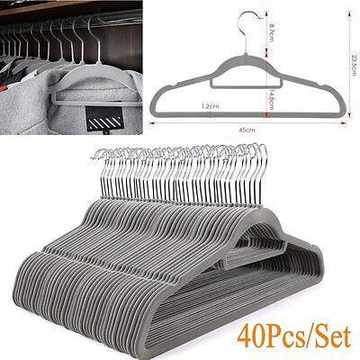 40Pcs/Set Non-slip Flocked Velvet Coat Clothes Hanging Hangers with Trouser Bar
