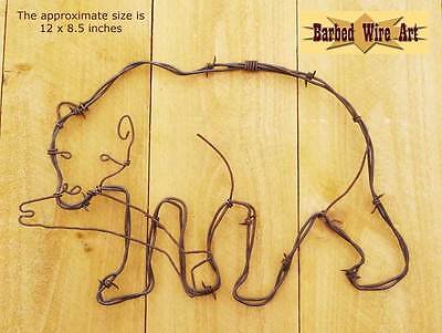 Bear and Fish - rustic lodge signs hanging barbed wire art western decor wall