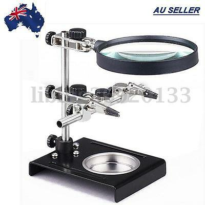 Solder Third Hand Soldering Iron Stand Holder Station Magnifier Helping Tool AU