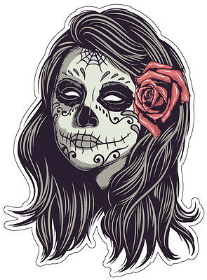 Sugar Skull #26 Sticker ALL SIZES DAY OF THE DEAD ipad computer CAR DECAL
