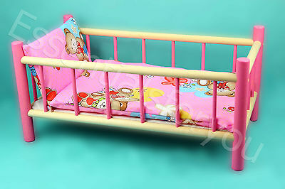 LARGE WOODEN PINK BED COT CRIB TOY Doll Teddy NEW *** SALE 40% OFF***