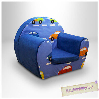 Cars Traffic Blue Childrens Kids Comfy Foam Chair Toddlers Armchair Seat Chair