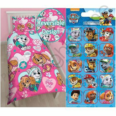 Paw Patrol Skye And Everest Single Duvet Cover Set + Free Small Foil Stickers