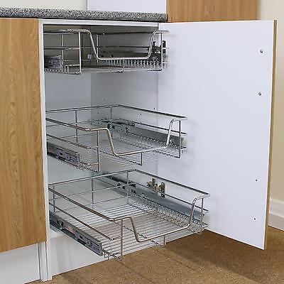 3 Pull Out Kitchen Wire Baskets Slide Out Storage Cupboard Drawer Larder 60cm
