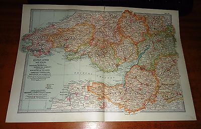 ENGLAND AND WALES Hereford, Monmouth, Gloucester SOMERSET etc Antique Map 1903