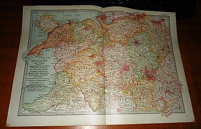 ENGLAND AND WALES Cheshire, Derby, Stafford SHROPSHIRE etc Antique Map 1903