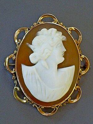 Fine Antique Victorian 9Ct Rose Gold Neo Classical Shell Cameo Brooch/pin Signed