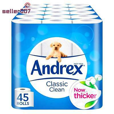Andrex Toilet Rolls, Classic Clean Moist Tissue Paper 45 Rolls Soft, Cleaning