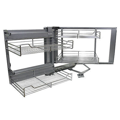 Corner Kitchen Wire Baskets Slide Out Left Hand Pull Out Metal Storage 90-100cm