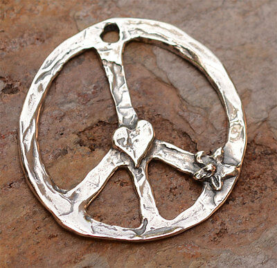Artisan Sterling Silver Peace Pendant with Flower and Heart D259