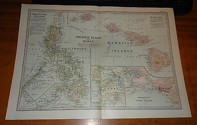 PHILIPPINE ISLANDS And Hawaii ADAM & CHARLES Antique Map 1903