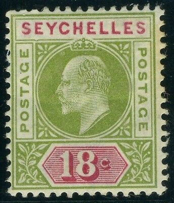 "SEYCHELLES-1903 18c Sage Green & Carmine ""DENTED FRAME"" fine mounted mint Sg 51a"