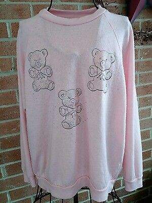 Vintage All Ways Sportswear Teddy Bear Sweatshirt Pink Sz S-M Glitter