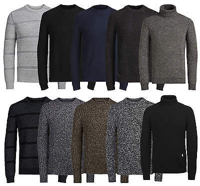 JACK & JONES Mens Wool & Cotton Style Crew Neck Knit Pullover Jumper Sweater Top