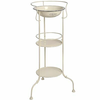 Shabby Chic Vintage French Style Wash Display Stand with Basin Cream Metal