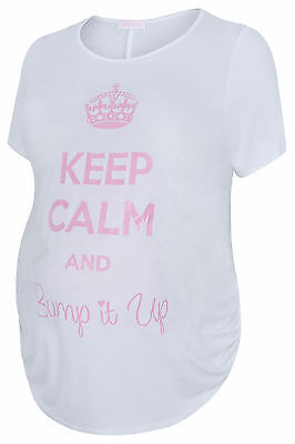 "Plus Size Womens Bump It Up Maternity Top With Pink Glitter "" Keep Calm Print"