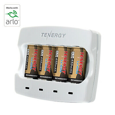 4PCS Tenergy RCR123A Li-ion Rechargeable Batteries+Arlo Battery Fast Charger