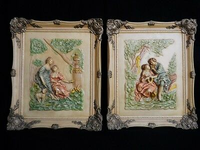 """VICTORIAN STYLE Vtg SET OF CHALKWARE WALL PLAQUES Rare & Beautiful 17"""" x 14.25"""""""