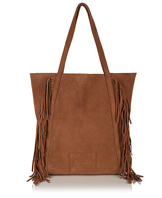 New Womens Superdry Premium Suede Neo Nomad Fringed Tote Bag Tan