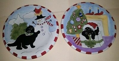 Set of 2 Christmas Plate Cat motif Hauseware Inc 2002