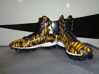New Youth Boys Under Armour Highlight Football Cleats 1258034-071 Gold/Blk  X 2