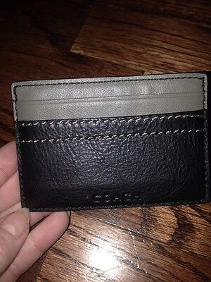 Coach 74375 Heritage Web Leather Slim Card Case Black Nwt