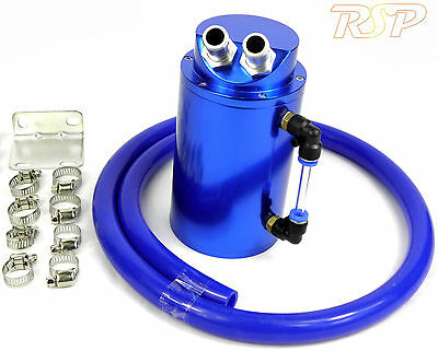 Blue Universal Alloy Oil Catch Tank Can Blue Hose Toyota Supra Starlet Celica