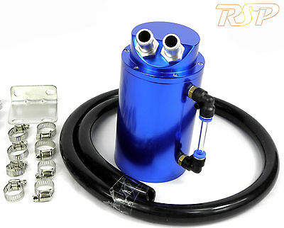 Blue Universal Aluminum Oil Catch Tank / Can 10mm Inlets Black Hose
