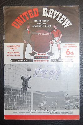 George Best Manchester United Signed First Team Debut 14/09/1963 Programme