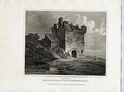 1814 Antique Print;  View of Morpeth Castle, Northumberland