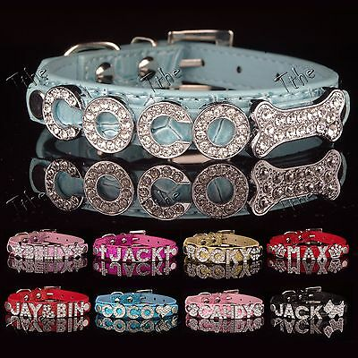 DIY Name Cat Dog PU Leather Personalized Pet Collar Puppy Bling Rhinestone o。o