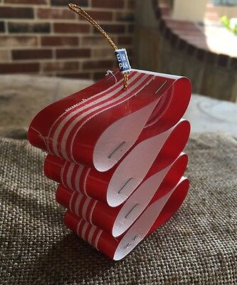 Vintage 1960's Red and White Peppermint Ribbon Candy Plastic Ornament- Japan