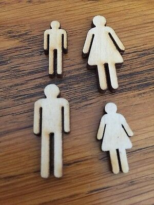 2 X sets OF MINI WOODEN PEOPLE /FAMILY  EMBELLISHMENT Craft Card Scrapbook