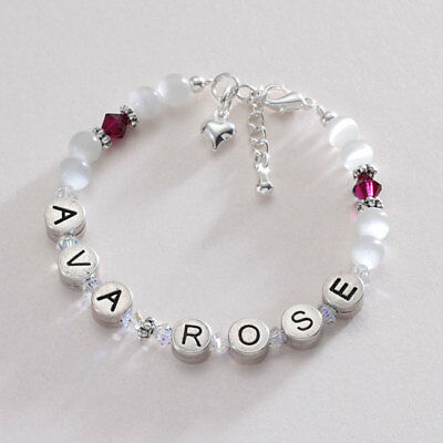 ANY NAME Girls/Baby Birthstone Bracelet - Pewter. Personalised Girls Jewellery