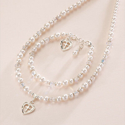Christening Day Jewellery Gift, First Holy Communion jewellery Set, white pearls