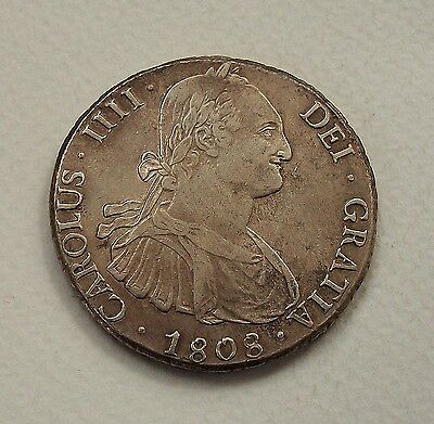 Colonial Spain - Bolivia 1808 Milled Silver 8 Reales  - Nice High Grade Coin!