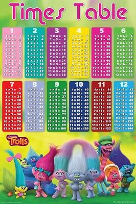 Trolls - Times Table POSTER 61x91cm NEW * learn maths multiplication learning