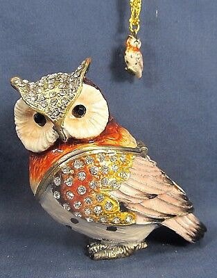 Great Horned Owl w/ necklace Enamel Jeweled Pewter Trinket Box Wildlife Decor