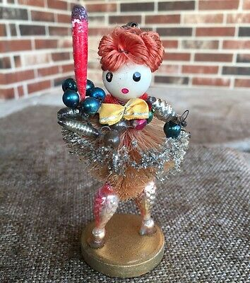 Vintage Angel Figure,Mercury Glass Beaded Arms Legs,Chenille Hair,Carries Candle