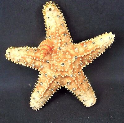 Starfish with necklace Jeweled Pewter Trinket box Sea Life Decor