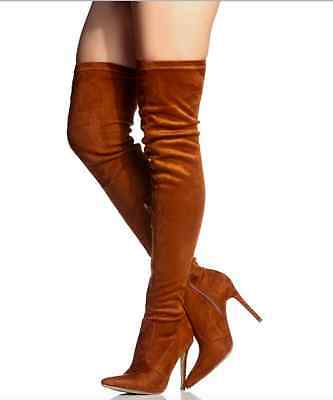 Camel Tan Pointy Thigh High Heels Boot Stiletto Fashion New Hot Sandal Suede