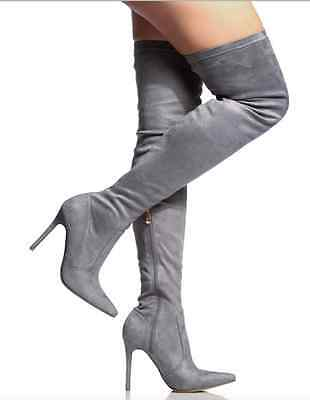 Gray Grey Pointy Thigh High Heels Boot Stiletto Fashion New Hot Sandal Suede