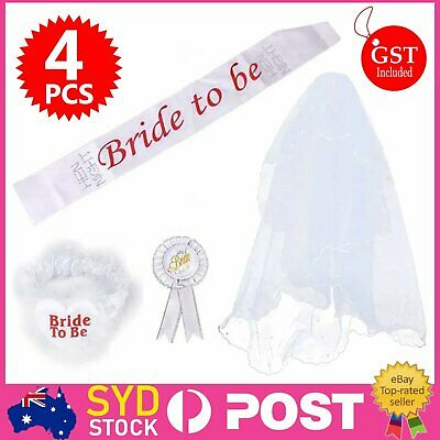 Bride To Be Hens Night Party White Veil Badge Sash Lace Garter Set Bachelorette
