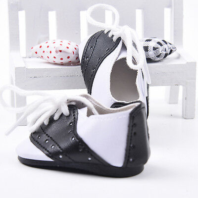"Black & White Leather Saddle Shoes Dresses for 18"" American Girl Doll party gift"