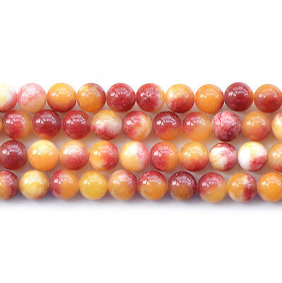 "Yellow Red Malaysian Jade Round Loose Gemstone Beads 15"" 6mm 8mm 10mm 12mm"