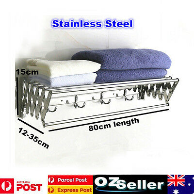 80CM Wall Mounted Stainless Steel Clothes Airer Caravan Bathroom Towel Rail Rack