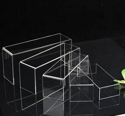 Set of 5 Cyrstal Clear Acrylic stepped Riser Display Jewelry Stand Desk Display