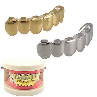 Gold/Silver Plated Mouth Teeth Grillz Caps Top & Bottom Detal Grills Bling Bling
