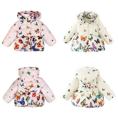 New Toddler Baby Butterfly Pattern Coat Kids Winter Warm Cotton Jacket Outerwear