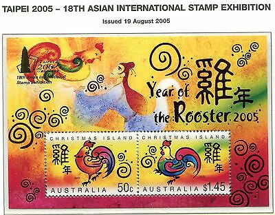 Christmas Island 2005 Year of the Rooster MS opt Taipei MNH
